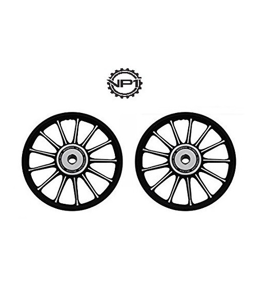 13 Spokes Black and Chrome Alloy Wheels for Royal Enfield Bullet Electra  (Set of 2)
