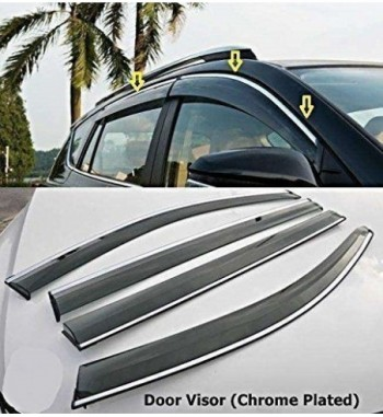 DOOR VISOR WIND DEFLECTOR SUN VISOR SET OF 4 BLACK COLOR Maruti Suzuki Baleno