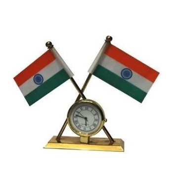 Universal Car Dashboard Indian Flag with Clock